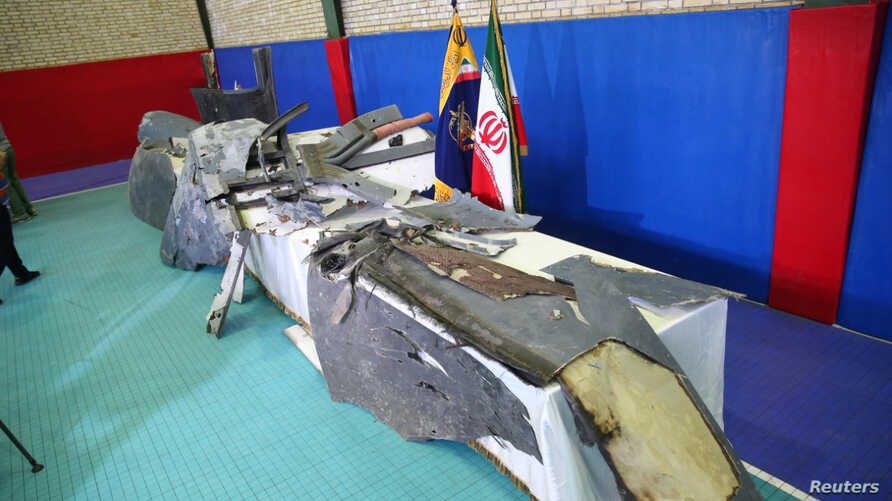 The purported wreckage of an American drone is seen displayed by the Islamic Revolutionary Guard Corps in Tehran, Iran, June 21, 2019.