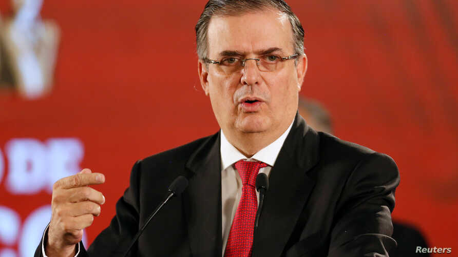Mexico's Foreign Minister Marcelo Ebrard speaks during a news conference at the National Palace in Mexico City.