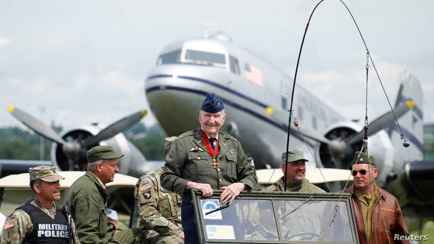 Gail Halvorsen, Berlin Airlift pilot known as Candy Bomber, attends a celebration to mark the 70th anniversary of the Berlin Airlift at the U.S. Army's airfield in Wiesbaden, Germany, June 10, 2019.