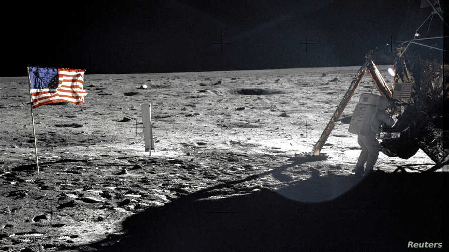 NASA file image shows Neil Armstrong on the moon next to the Lunar Module Eagle