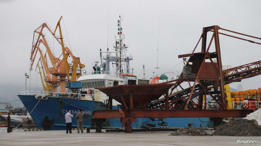 Russian fishing boat Xianghailin-8, which was detained July 17, 2019, by border guards, is docked in the port of Wonsan, North Korea, July 26, 2019.