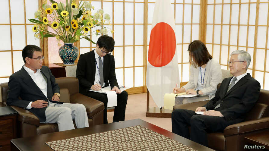 Japanese Foreign Minister Taro Kono meets with South Korea's ambassador to Japan Nam Gwan-pyo at the Foreign Ministry in Tokyo, Japan, July 19, 2019.