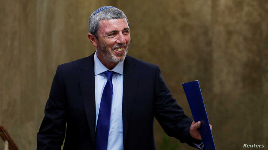 Israel's Education Minister Rafi Peretz arrives to attend the weekly cabinet meeting in Jerusalem