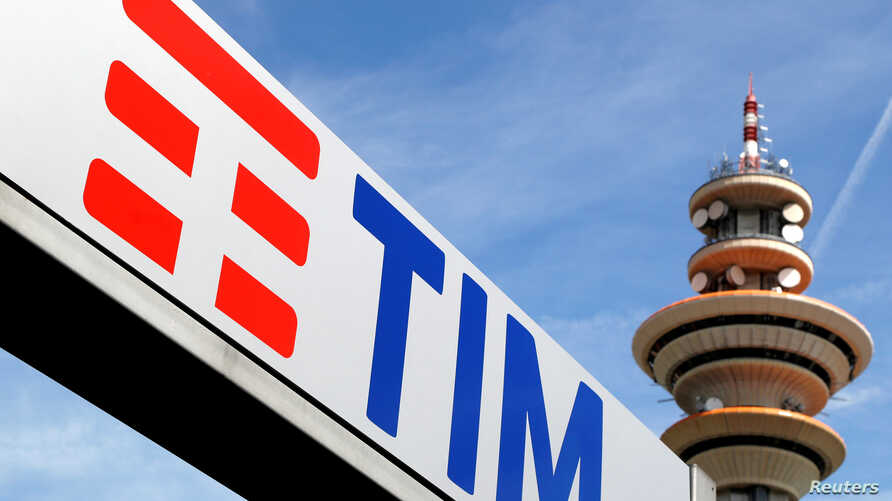 FILE PHOTO: Telecom Italia new logo is seen at the headquarter in Rozzano neighborhood of Milan.