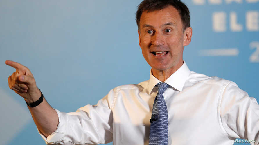 Jeremy Hunt, a leadership candidate for Britain's Conservative Party, attends an event in Wyboston, Britain, July 13, 2019. Hunt, Britain's foreign secretary, says the Iran nuclear deal can still be saved.