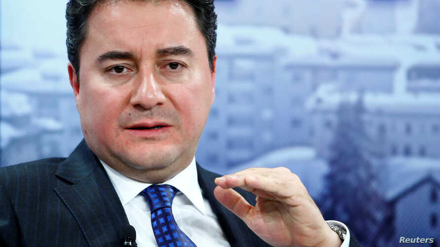 Former Turkish official  Ali Babacan gestures during the session 'Growing in Harder Times' in Davos, Switzerland, July 11, 2019.