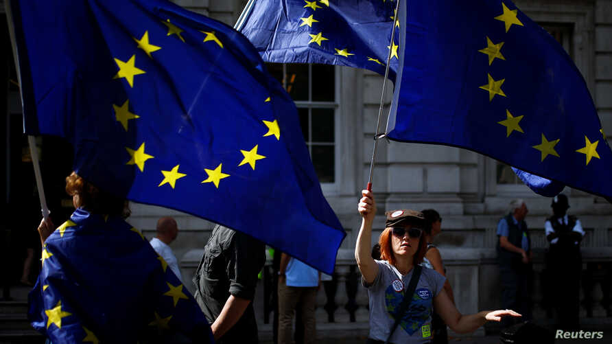 Anti-Brexit protesters wave the EU flags outside the Cabinet Office in London, Britain August 30, 2019. REUTERS/Henry Nicholls