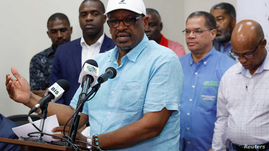 Bahamas Prime Minister Hubert Minnis talks to the media during a news conference in Nassau, Bahamas, September 3, 2019. REUTERS/Marco Bello