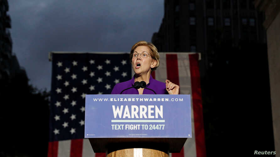 U.S. Senator and democratic presidential candidate Elizabeth Warren speaks at Washington Square Park in New York, New York, U.S. September 16, 2019. REUTERS/Shannon Stapleton