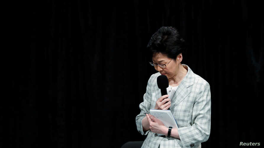 Hong Kong Chief Executive Carrie Lam reacts during the first community dialogue session in Hong Kong, China September 26, 2019. REUTERS/Tyrone Siu
