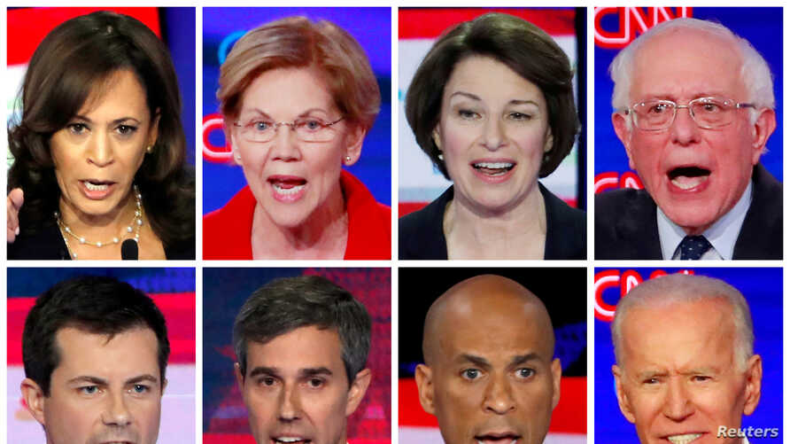 Eight 2020 Democratic presidential candidates are seen in a combination from file photos