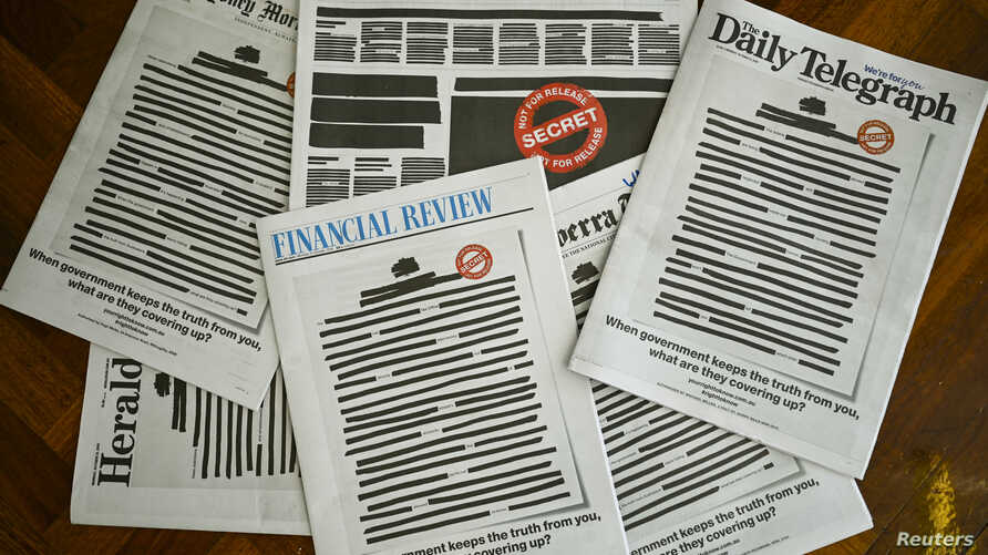 """Front pages of major Australian newspapers show a 'Your right to know"""" campaign, in Canberra, Australia, October 21, 2019…"""