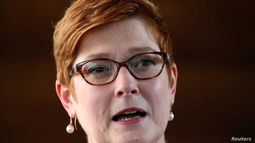 FILE PHOTO: FILE PHOTO: Australia's Foreign Minister Marise Payne speaks during a news conference at Australian Embassy in…