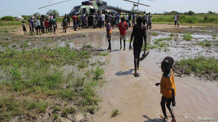 Civilians displaced by flooding  in Gumuruk, Boma state, South Sudan