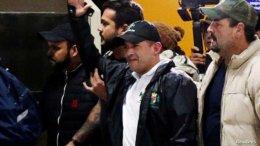 Luis Fernando Camacho, a civic leader who is pushing for Bolivia's President Evo Morales's resignation, arrives at the…
