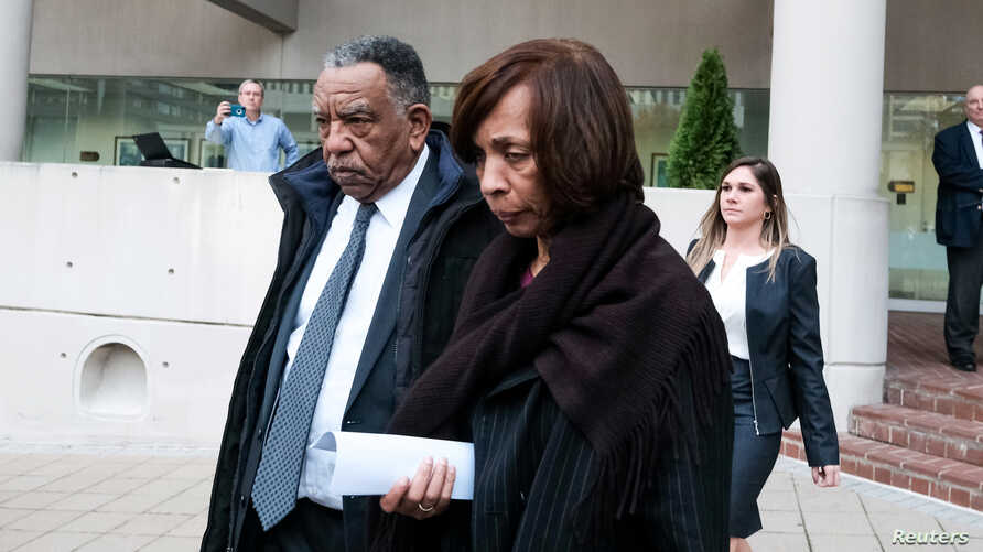 Former Baltimore Mayor Catherine Pugh leaves the U.S. District Court after she was charged with wire fraud and tax evasion,…