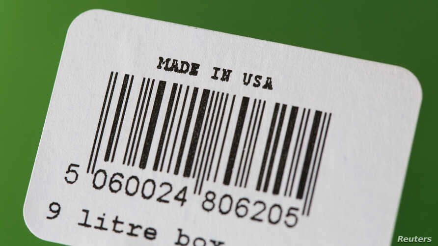 "A barcode label with ""Made In U.S.A."" written on it is pictured on a plastic tote in San Diego, California January 29, 2014. U…"