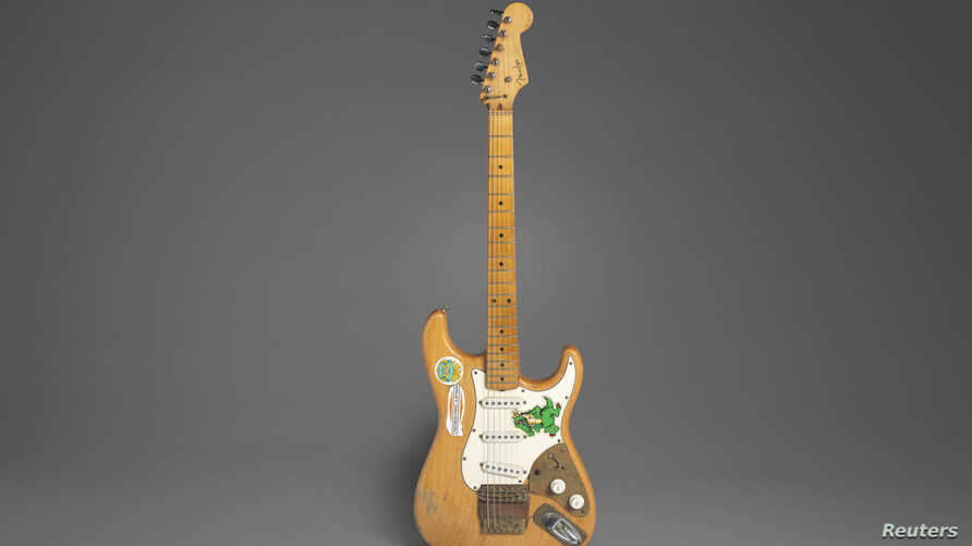 Jerry Garcia's Alligator Fender Stratocaster, owned and played by the late Grateful Dead musician between 1971-73, is seen in a…