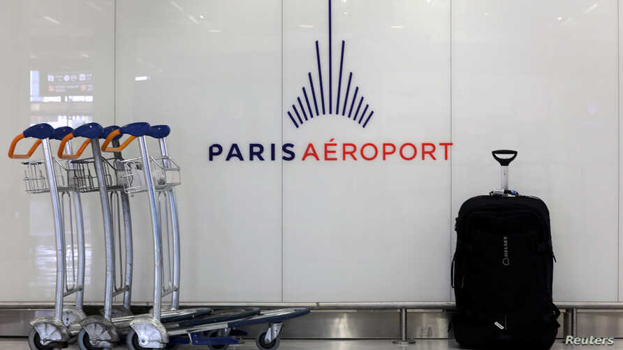 A logo of Groupe ADP (Aeroports de Paris) is seen at Orly Airport near Paris, France, December 9, 2019.  REUTERS/Eric Gaillard