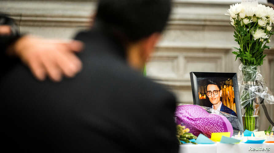 Ramin Jalalpour attends a vigil in memory of his cousin and Iranian student Amir Moradi, who was killed in the crash of a…
