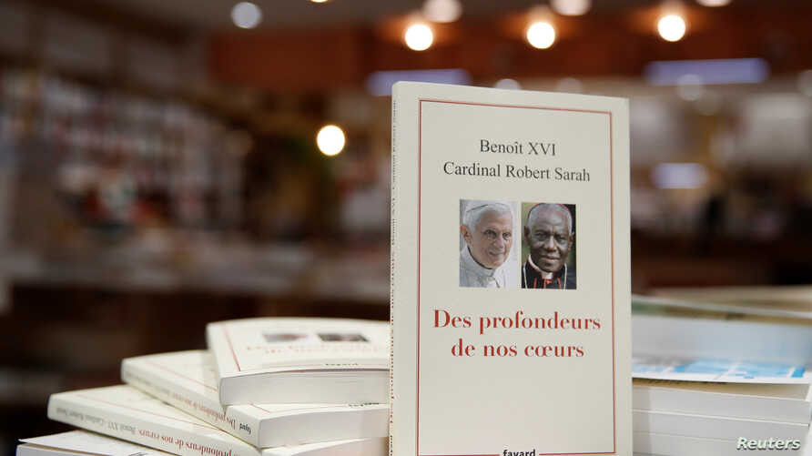 """The book """"From the Depths of Our Hearts"""", co-written by retired pope Benedict XVI, is on display in a bookshop in Paris, France…"""