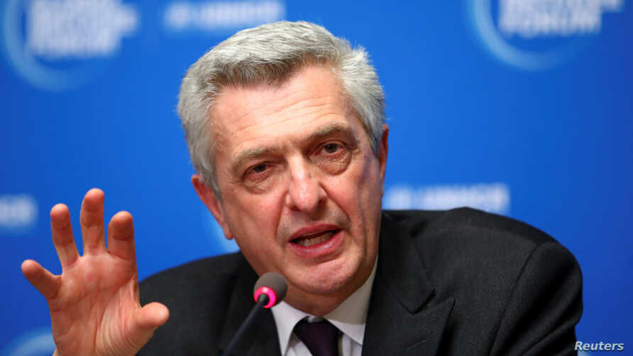 FILE PHOTO: United Nations High Commissioner for Refugees Filippo Grandi gestures as he speaks during a news conference after…