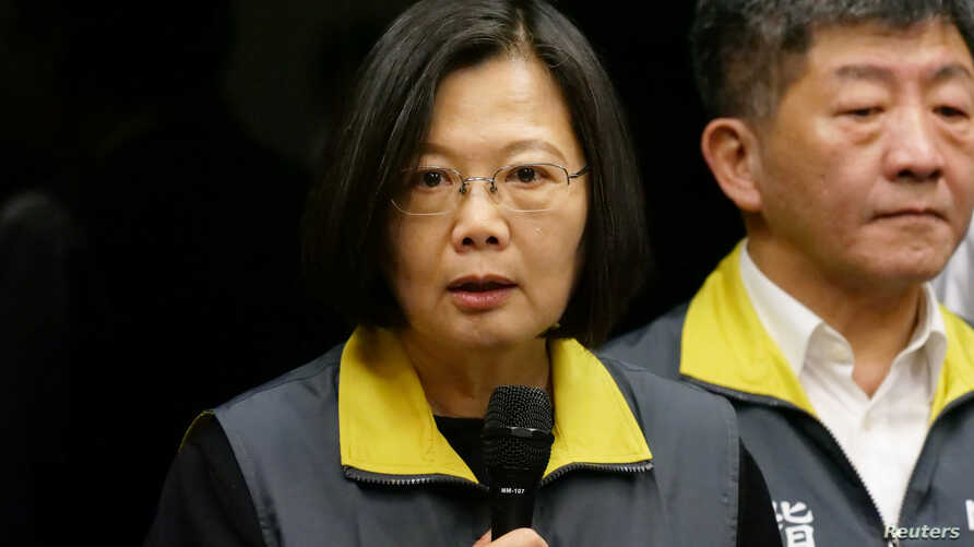 Taiwan President Tsai Ing-wen speaks about the coronavirus situation in Taiwan, during a news conference at the Centers for…