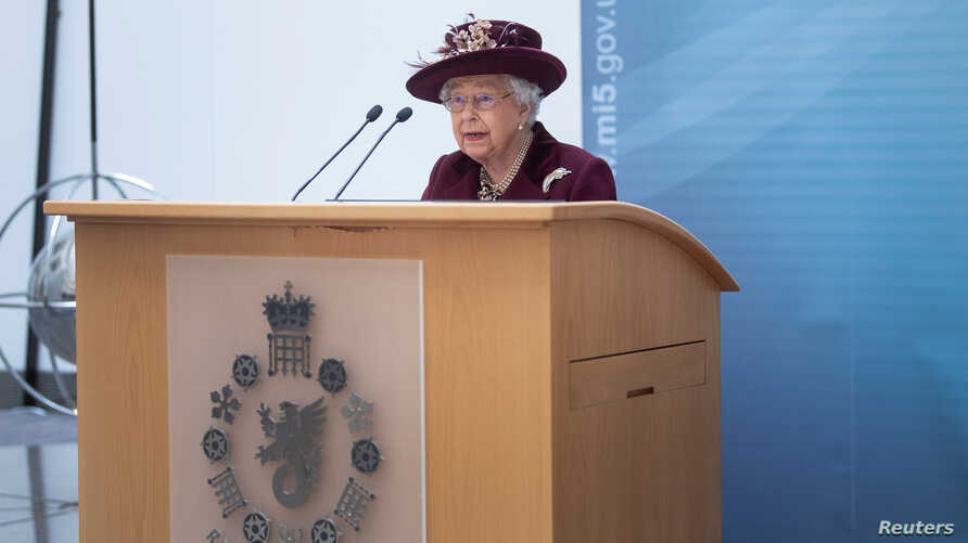 Britain's Queen Elizabeth II speaks during a visit to the headquarters of MI5, which is the United Kingdom's domestic counter…