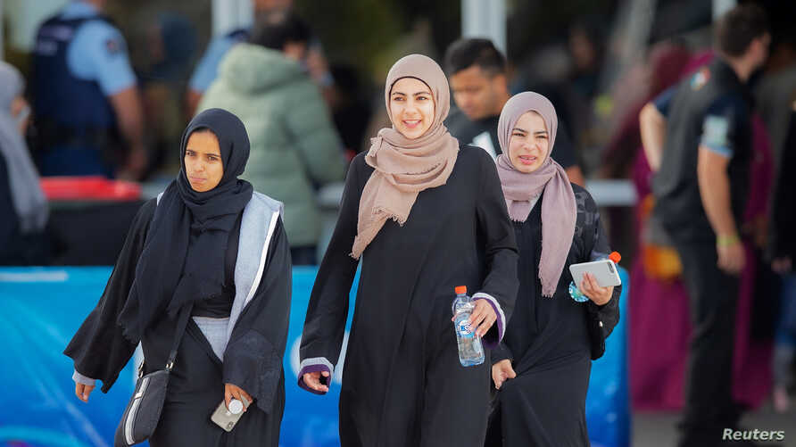 Worshippers from the Al Noor mosque and the Linwood Islamic Centre arrive for Friday prayers in advance of the anniversary of…