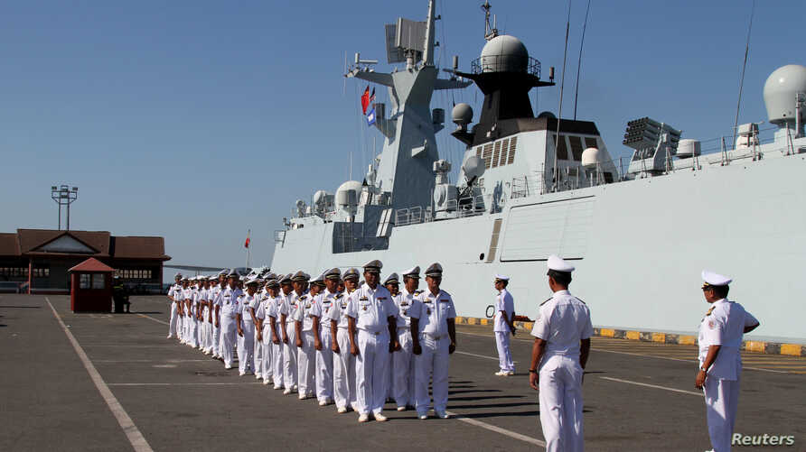 Cambodian navy officials attend a ceremony after conducting an exercise with Chinese naval officers in Preah Sihanouk province,…