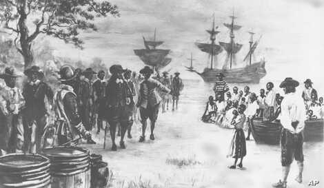 This painting by Sidney King depicts Virginia in 1619 as a frigate docks at Point Comfort bringing 20 African slaves to be trade