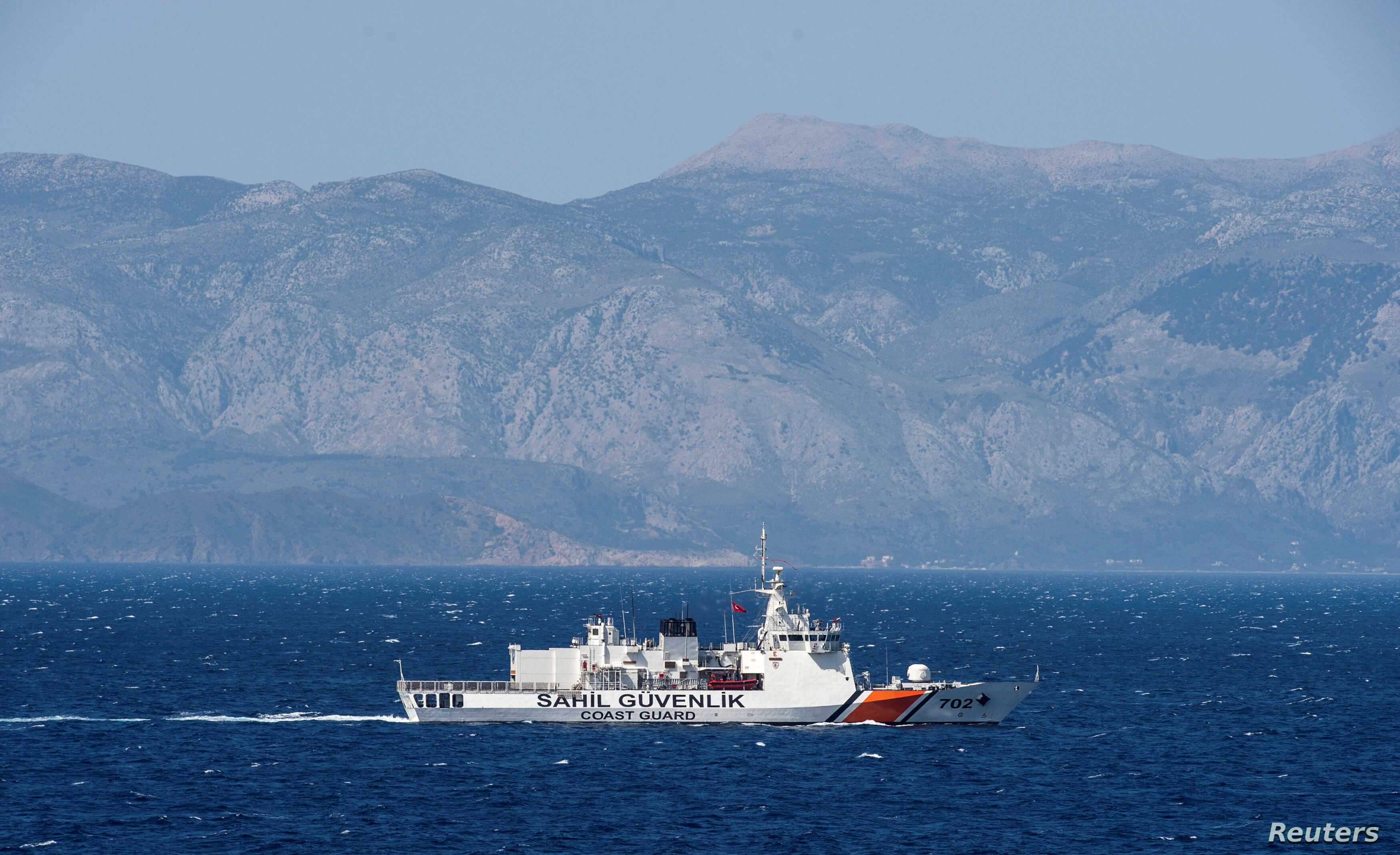 FILE -A Turkish coast guard ship patrols in the Aegean Sea, off the Turkish coast, April 20, 2016.