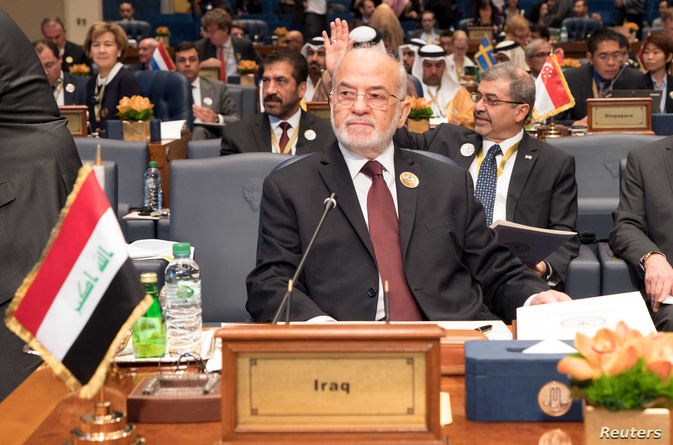 Iraq's Foreign Minister Ibrahim al-Jaafari attends the Kuwait International Conference for Reconstruction of Iraq, in Bayan, Kuwait, Feb. 13, 2018.