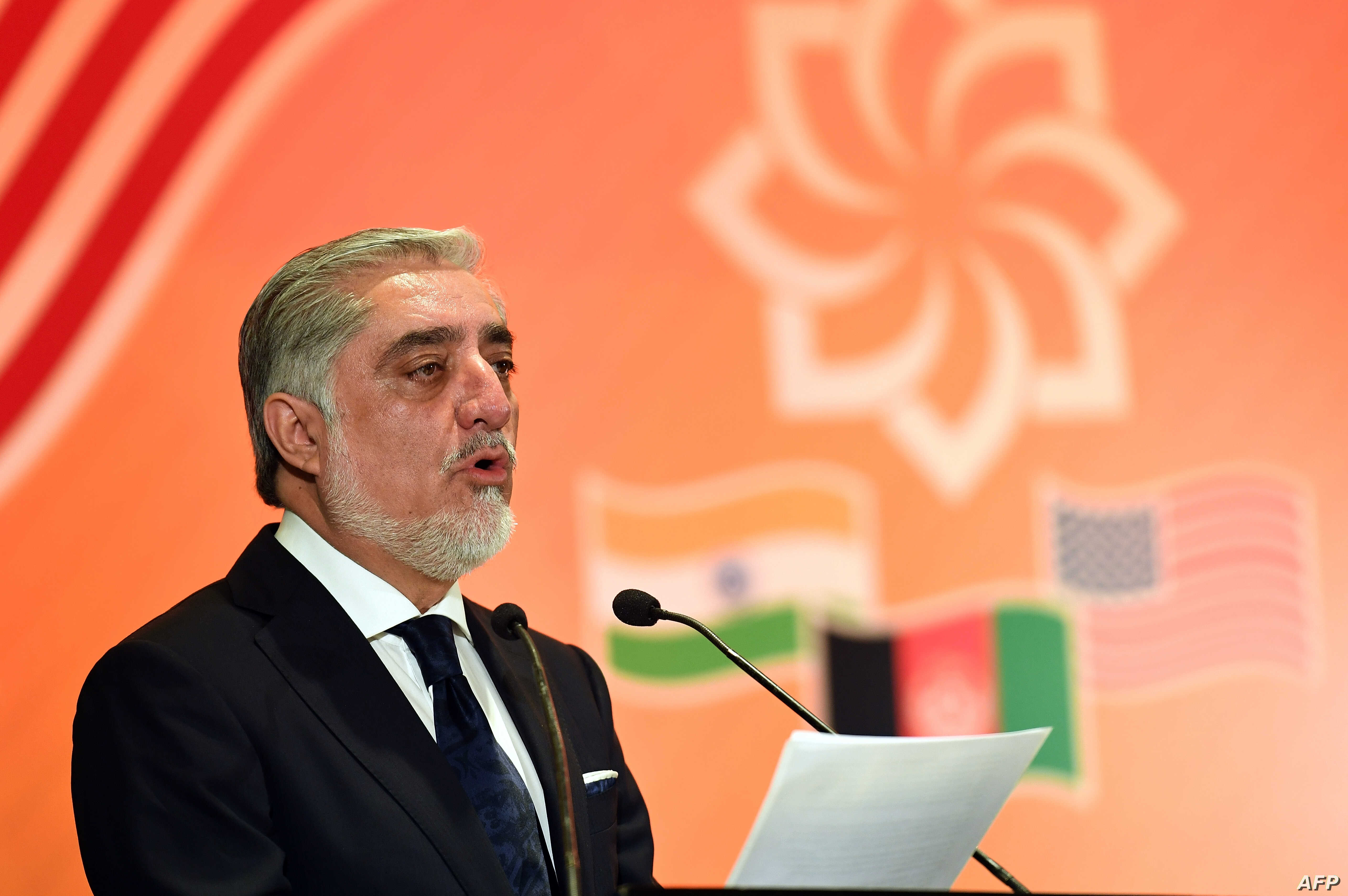 Afghanistan Chief Executive Officer Abdullah Abdullah delivers the keynote address at the US-sponsored trade and investment initiative 'Passage To Prosperity' in the Indian capital in New Delhi on Sept. 28, 2017.