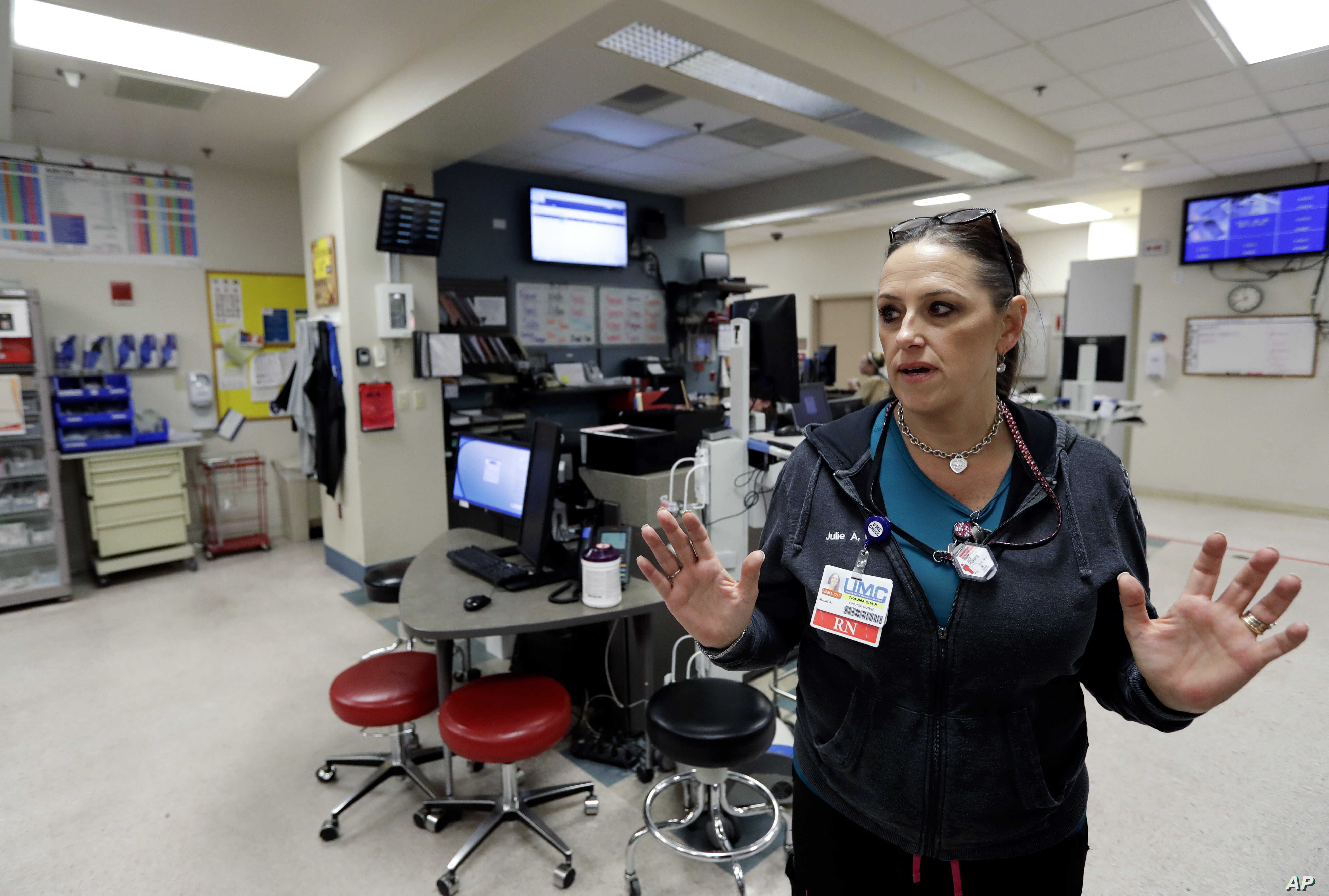 Trauma nurse Julie Anderson, talks about work Sunday night as victims of a mass shooting began to arrive, in the trauma center at the University Medical Center in Las Vegas.