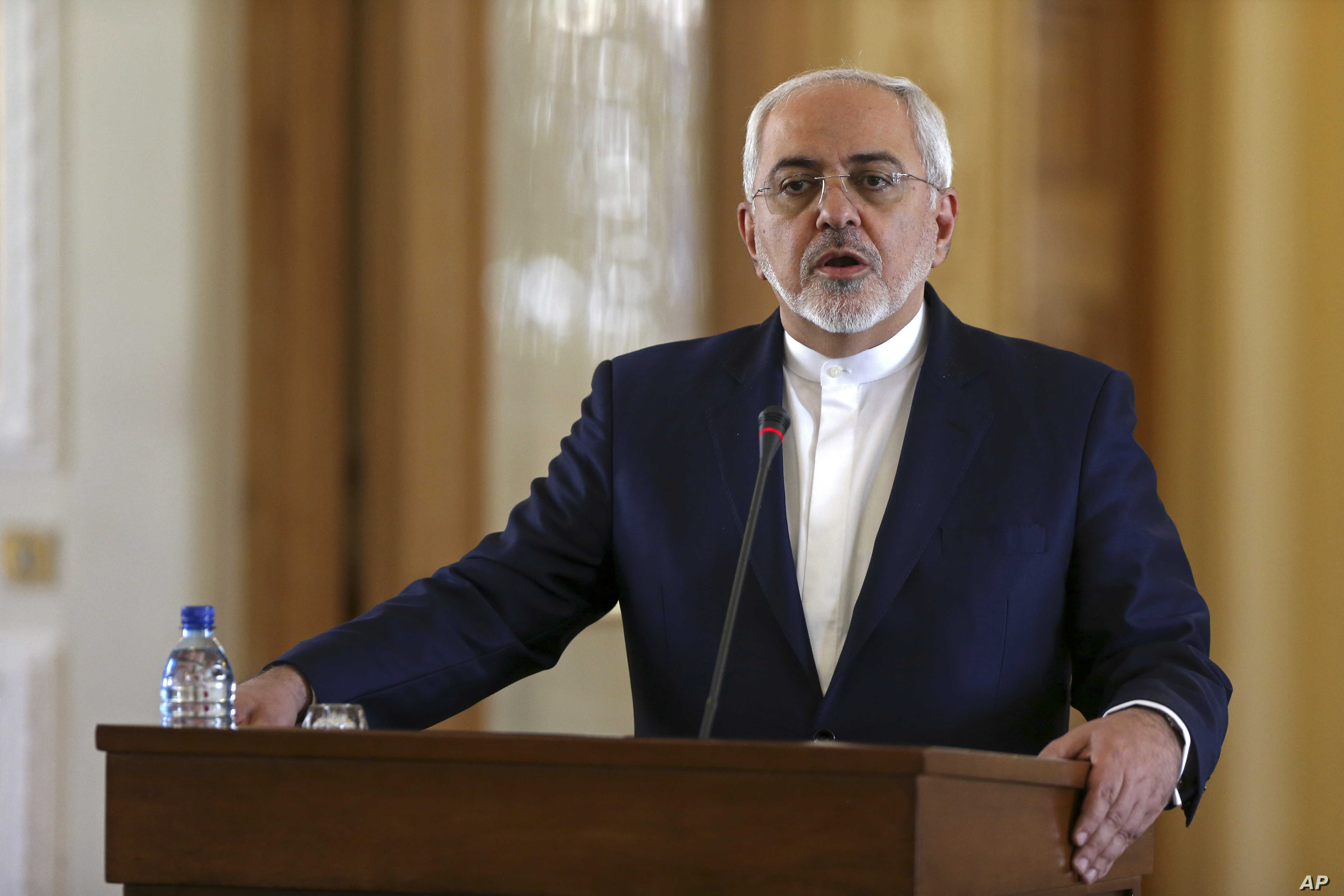 Iranian Foreign Minister Mohammad Javad Zarif speaks at a joint press conference with his French counterpart Jean-Marc Ayrault, in Tehran, Jan. 31, 2017. Zarif refused to confirm that the country conducted a missile test.