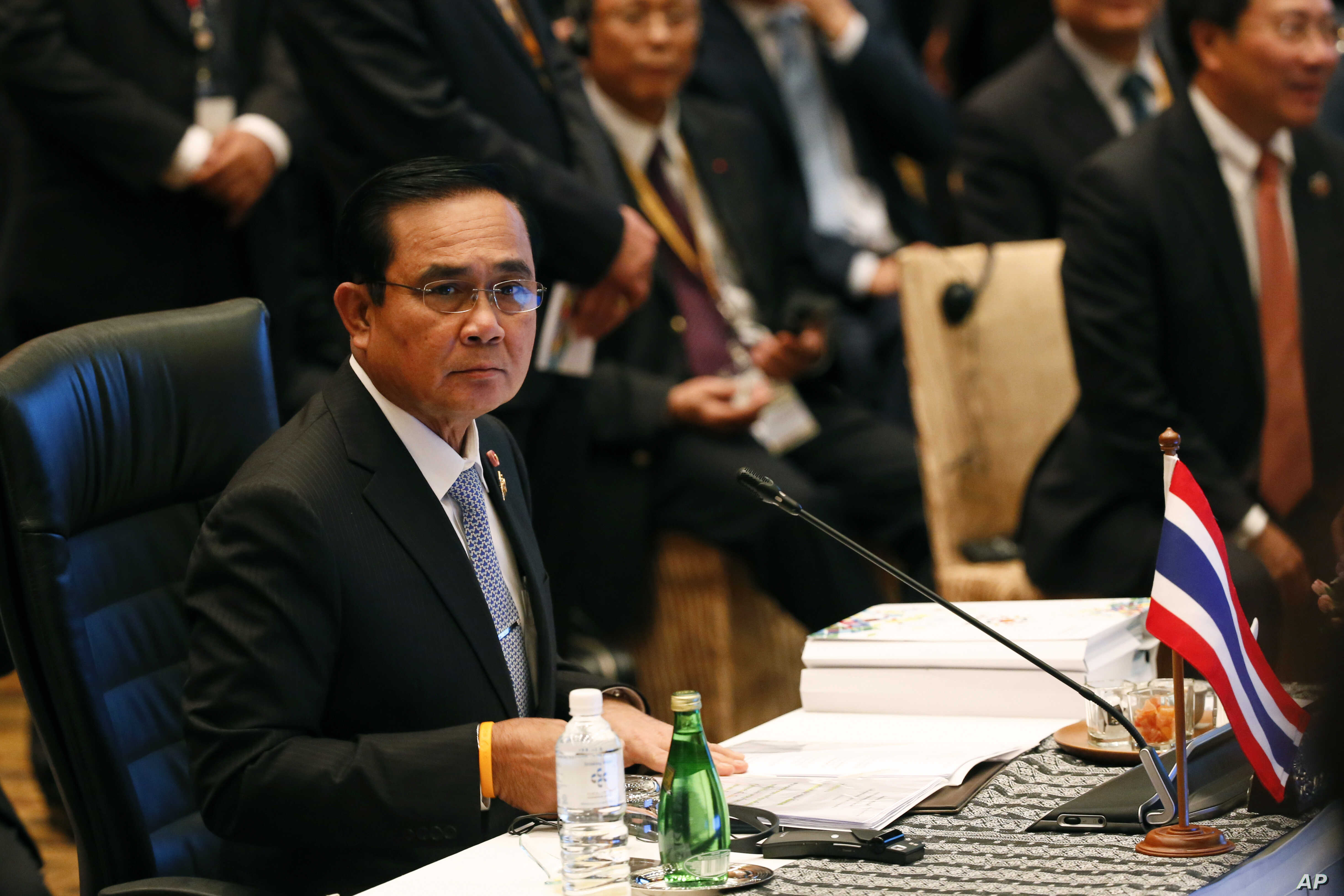 FILE - Thailand's Prime Minister Prayuth Chan-o-cha prepares before the Association of Southeast Asian Nations (ASEAN) summit in Kuala Lumpur, Malaysia, Nov. 21, 2015.