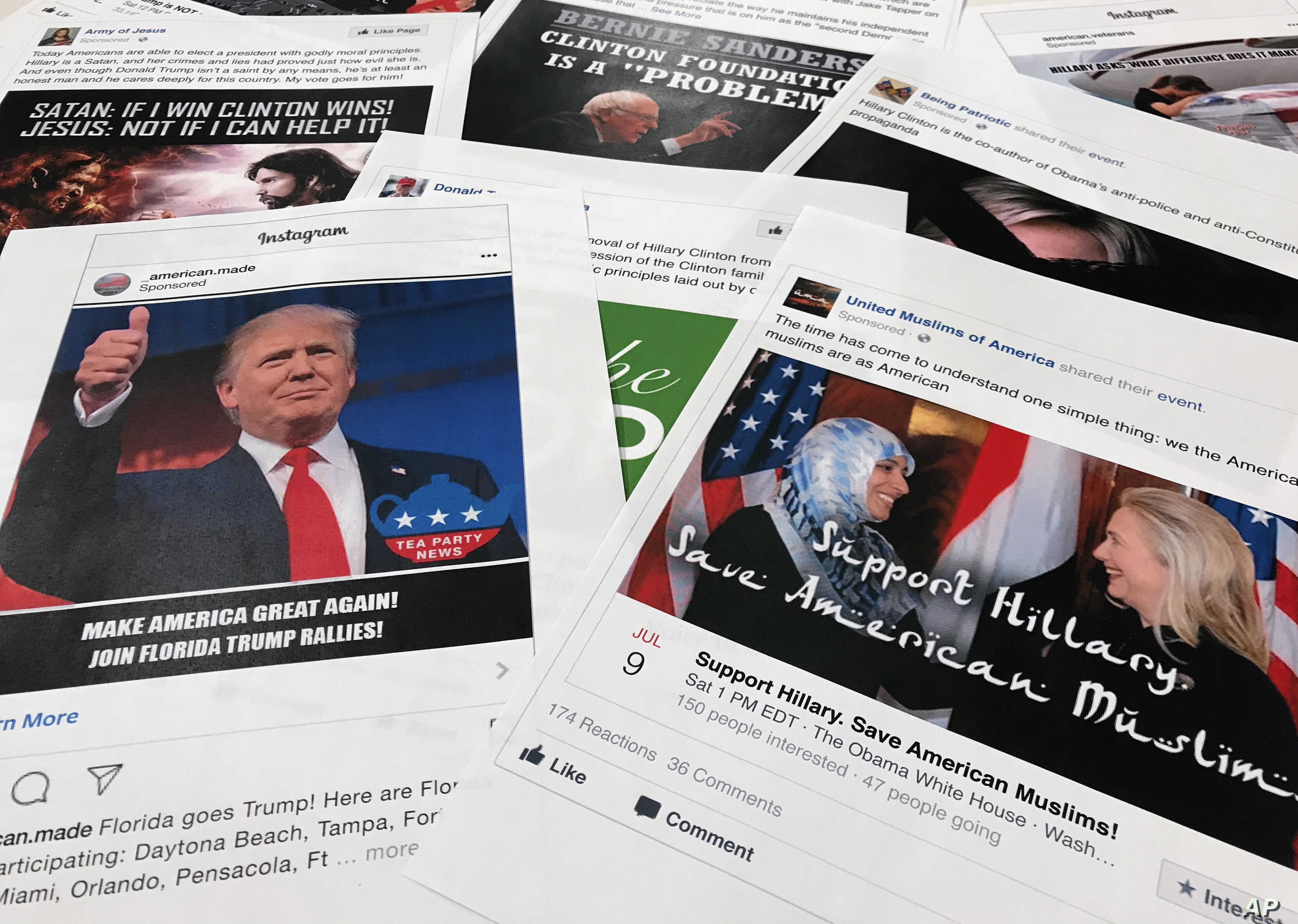 FILE - Some of the Facebook and Instagram ads linked to a Russian effort to disrupt the American political process and stir up tensions around divisive social issues, released by members of the U.S. House Intelligence committee, are photographed in W...