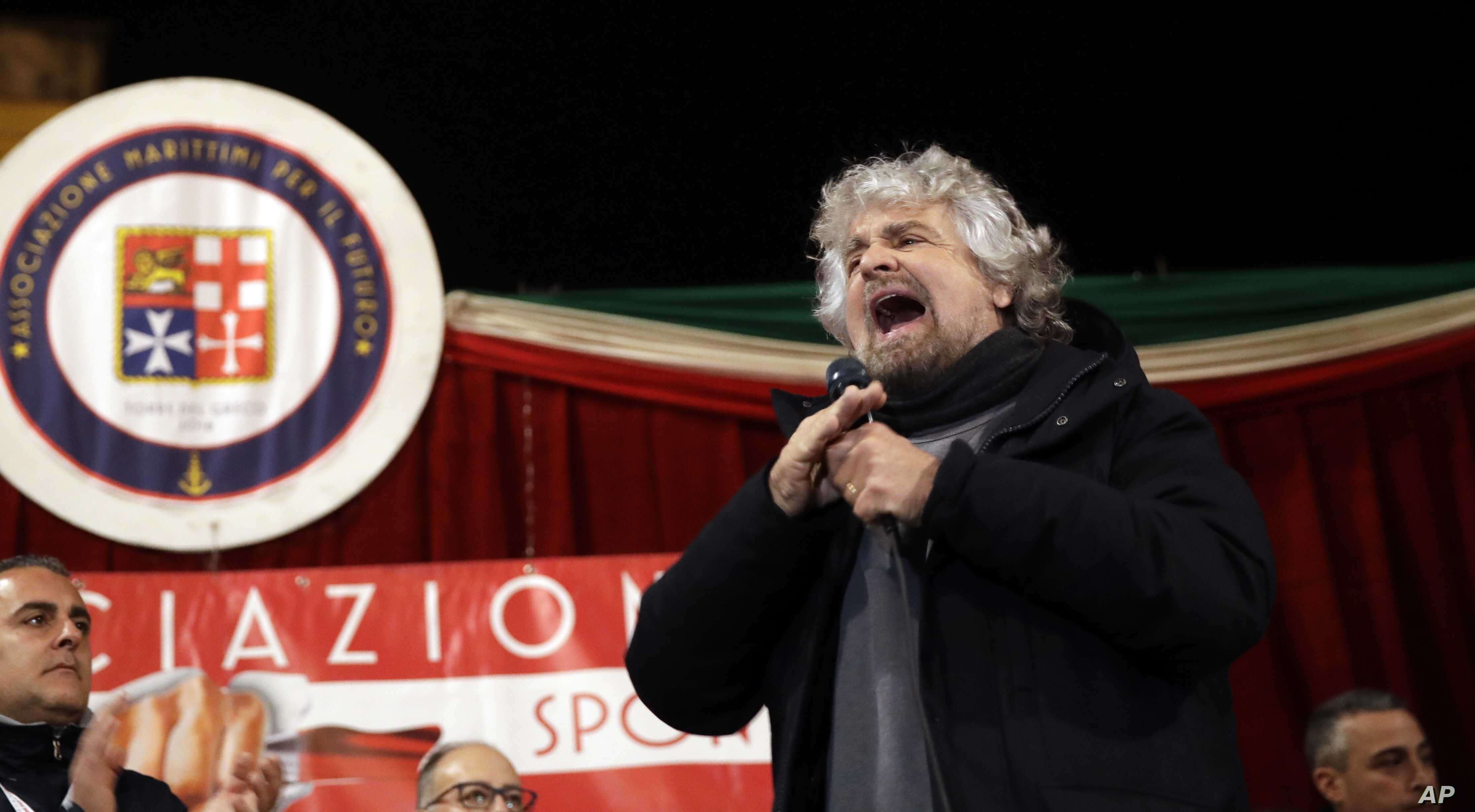 Comic-turned-politician and Five-Star movement's founder Beppe Grillo addresses a rally in Torre del Greco, near Naples, Italy, Feb. 12, 2018.