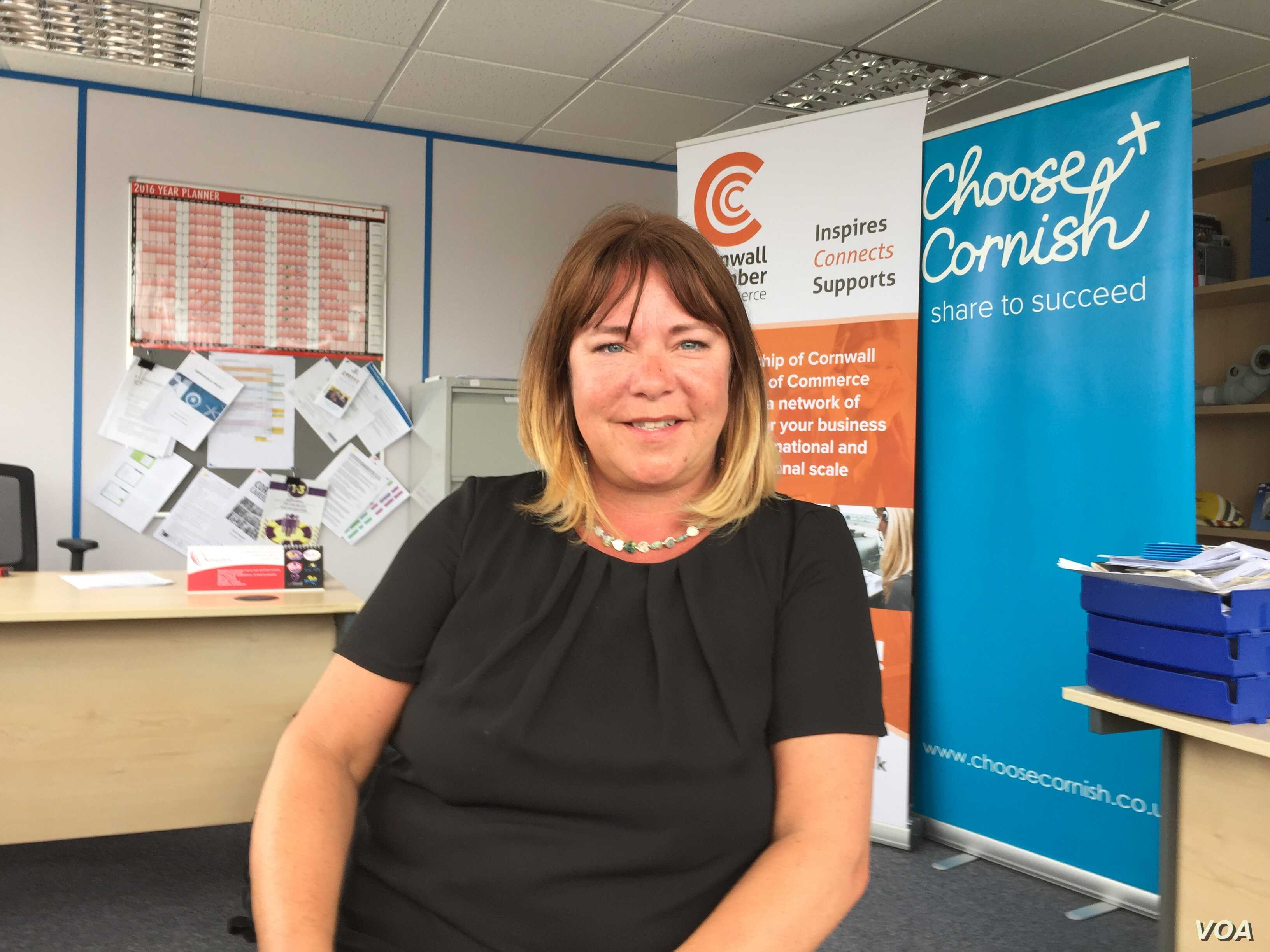 Mel Colton-Dyer of Cornwall's Chamber of Commerce says EU assistance has transformed the region. (L. Ramirez/VOA)