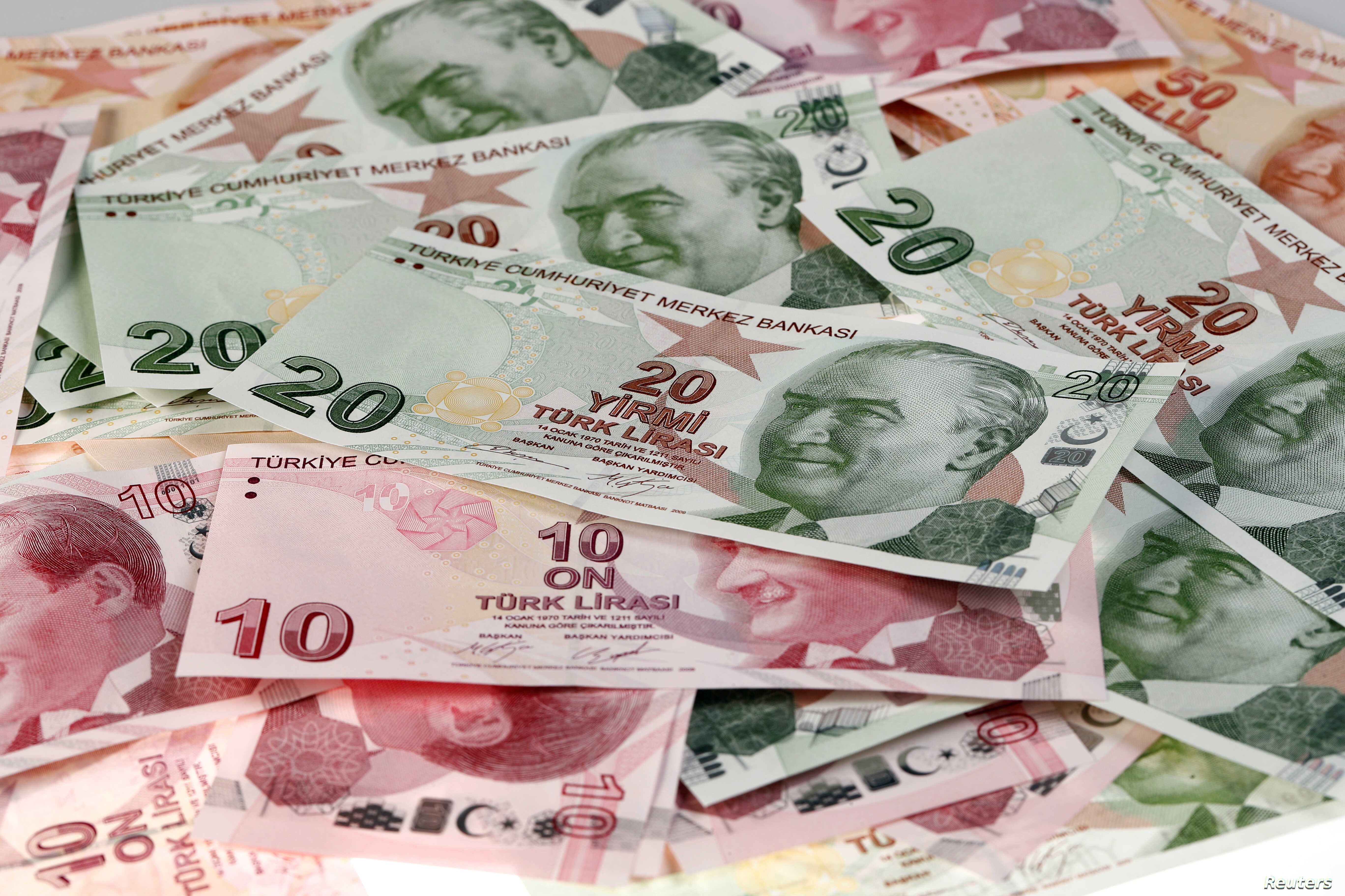 Turkish Lira banknotes are seen in this Oct. 10, 2017 picture illustration.