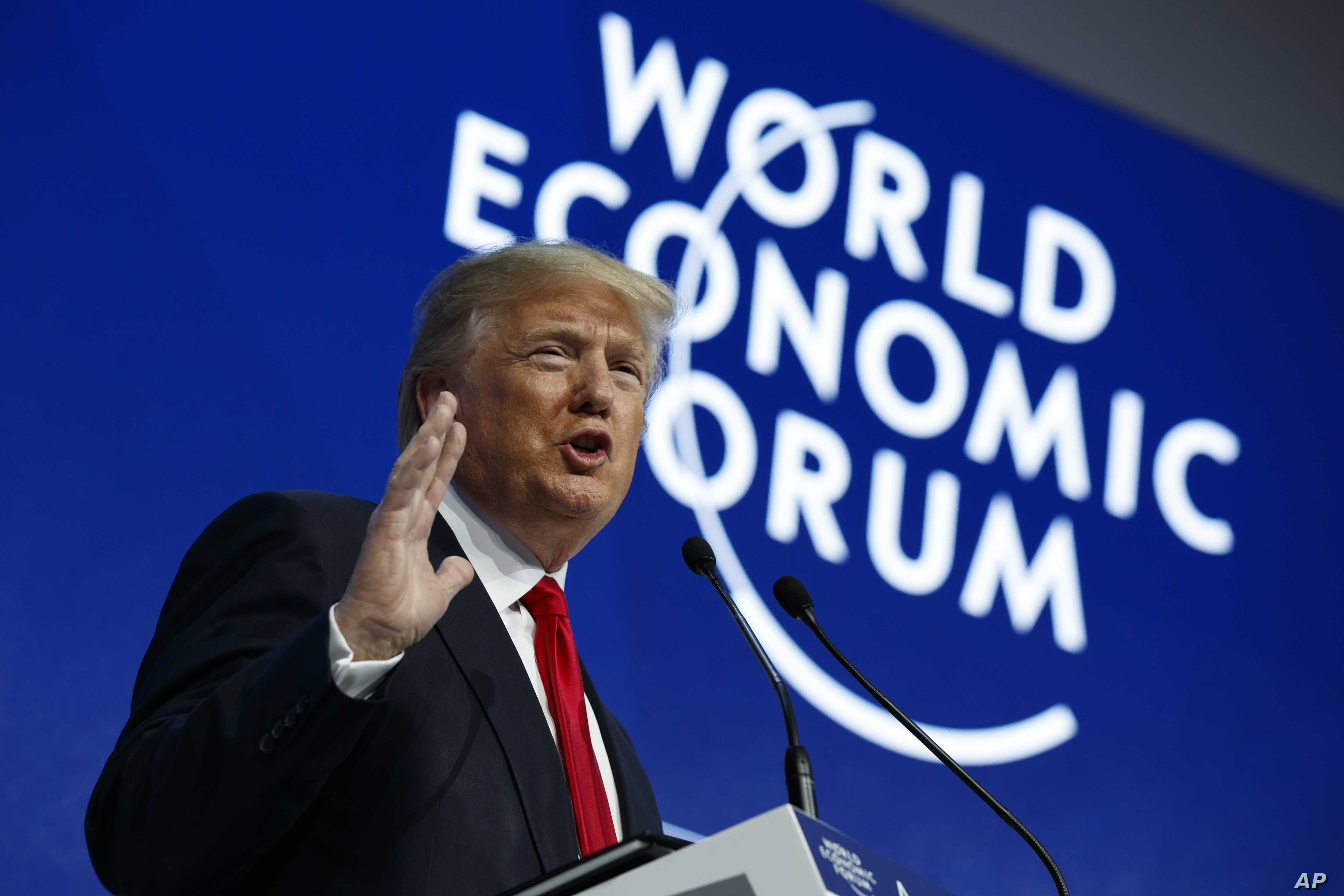 President Donald Trump delivers a speech to the World Economic Forum, Jan. 26, 2018, in Davos, Switzerland.