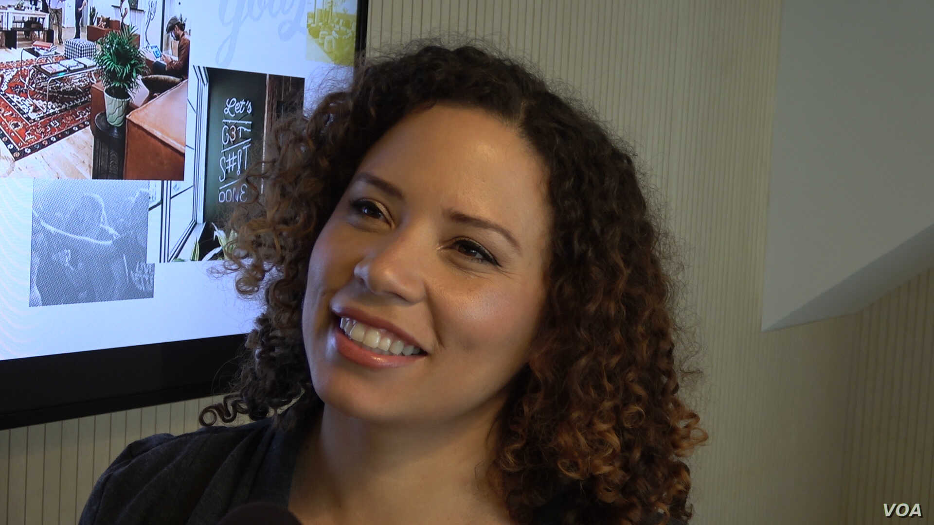 Fanny Veliz is CEO of Avenida Productions, a production and consulting firm, who works from shared office space in Los Angeles and other cities. (M O'Sullivan/VOA)