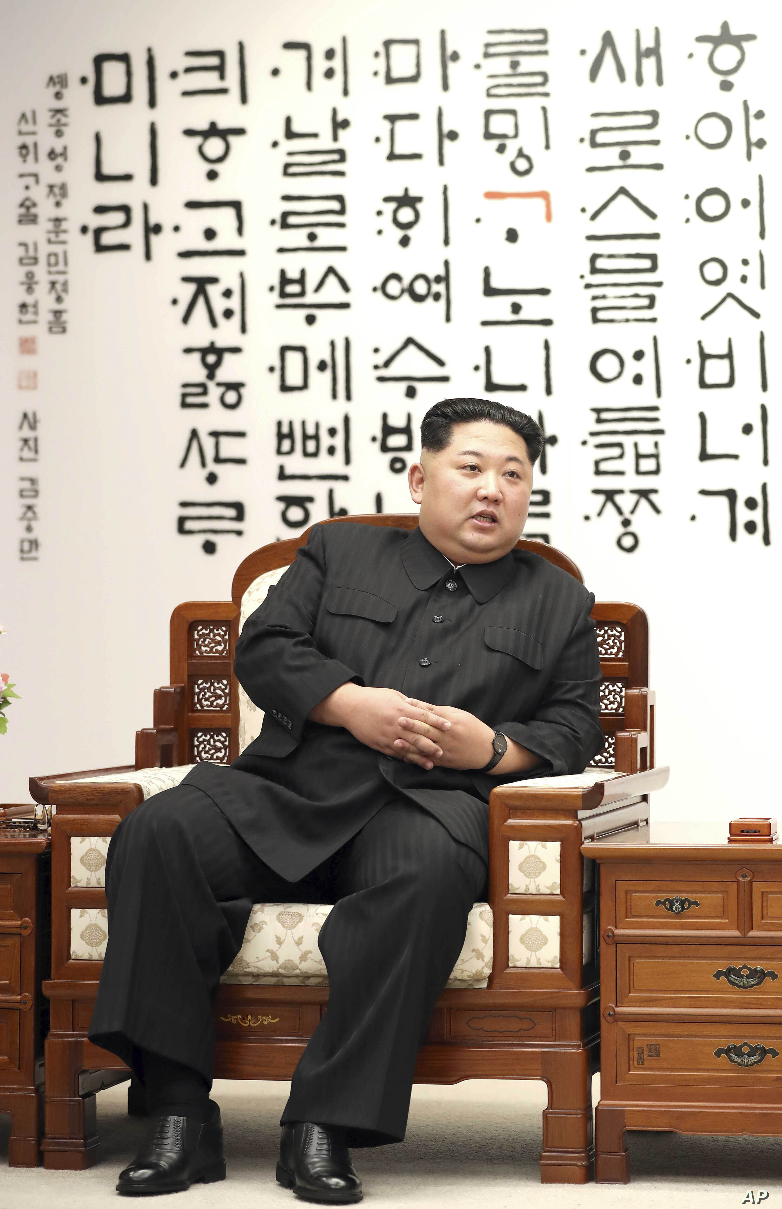 North Korean leader Kim Jong Un is seen at Peace House of the border village of Panmunjom in the Demilitarized Zone, South Korea, April 27, 2018.