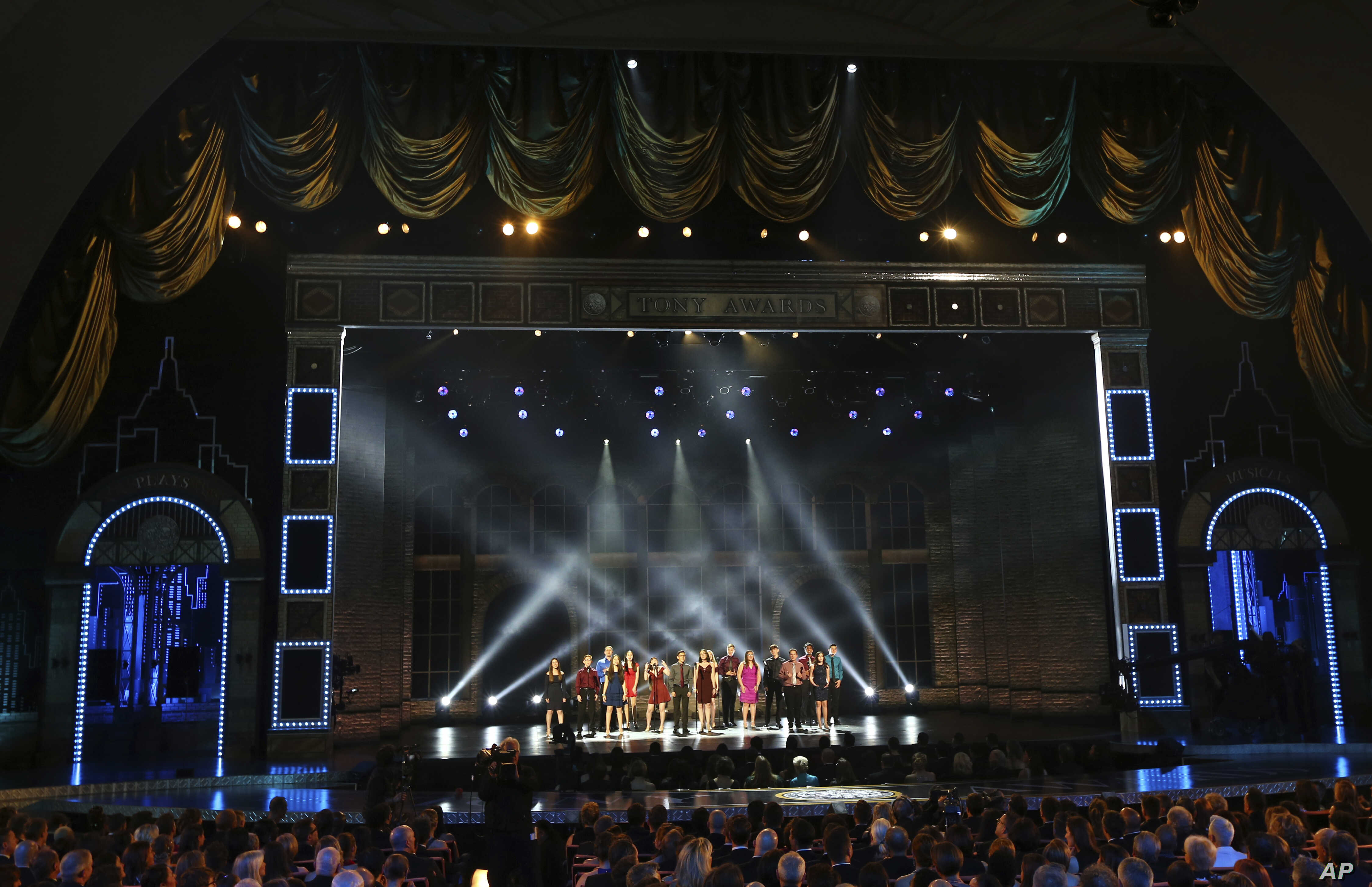 """The Marjory Stoneman Douglas High School drama department perform """"Seasons of Love"""" at the 72nd annual Tony Awards at Radio City Music Hall on Sunday, June 10, 2018, in New York."""