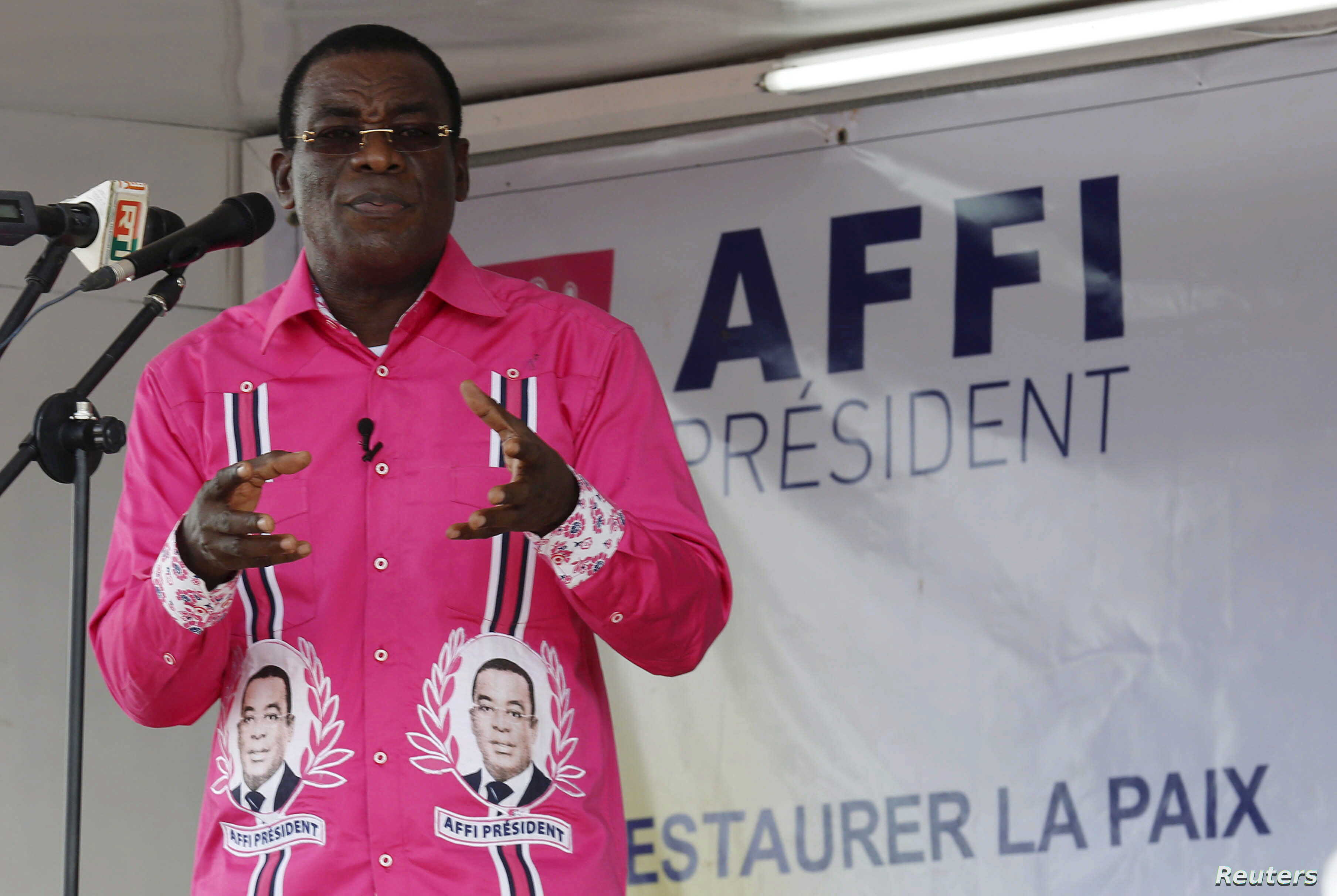 Pascal Affi N'Guessan, leader of Ivorian Popular Front (FPI), speaks during a campaign rally in Gagnoa, Oct. 10, 2015.