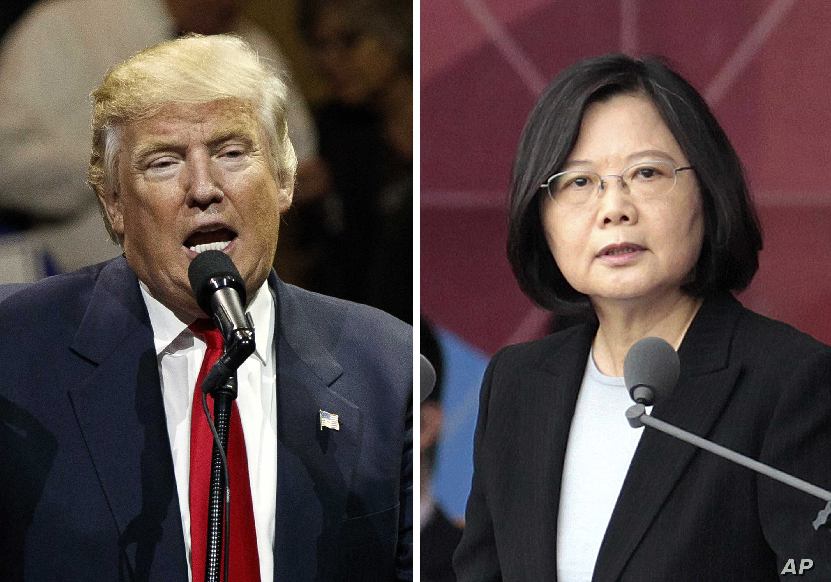 "FILE - This combination of two photos shows U.S. President-elect Donald Trump speaking during a ""USA Thank You"" tour event in Cincinatti, Dec. 1, 2016, and Taiwan's President Tsai Ing-wen, delivering a speech during National Day celebrations in Taipe..."