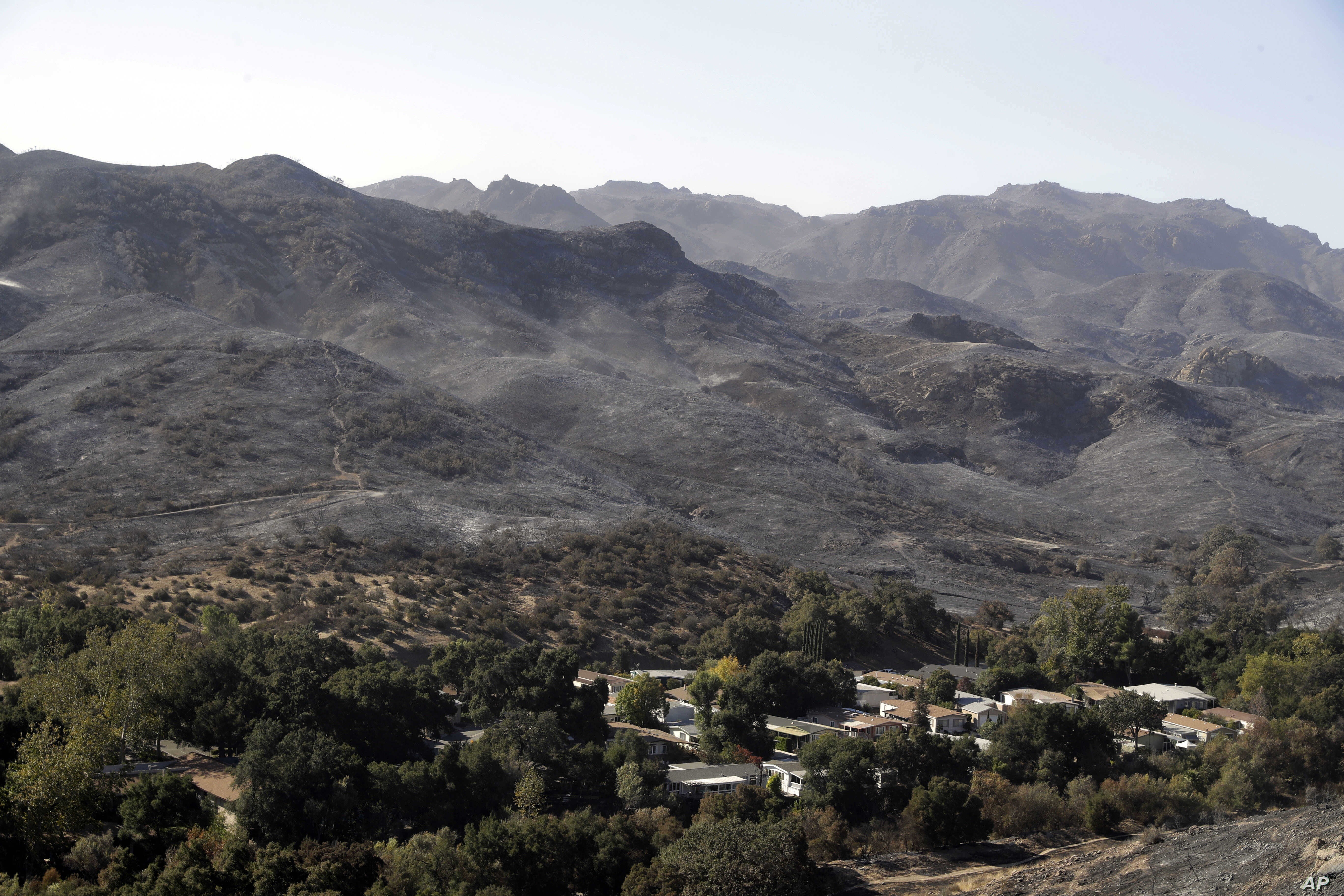 Burned down mountains tower over a residential neighborhood in the aftermath of a wildfire, Nov. 12, 2018, in Westlake Village, California.