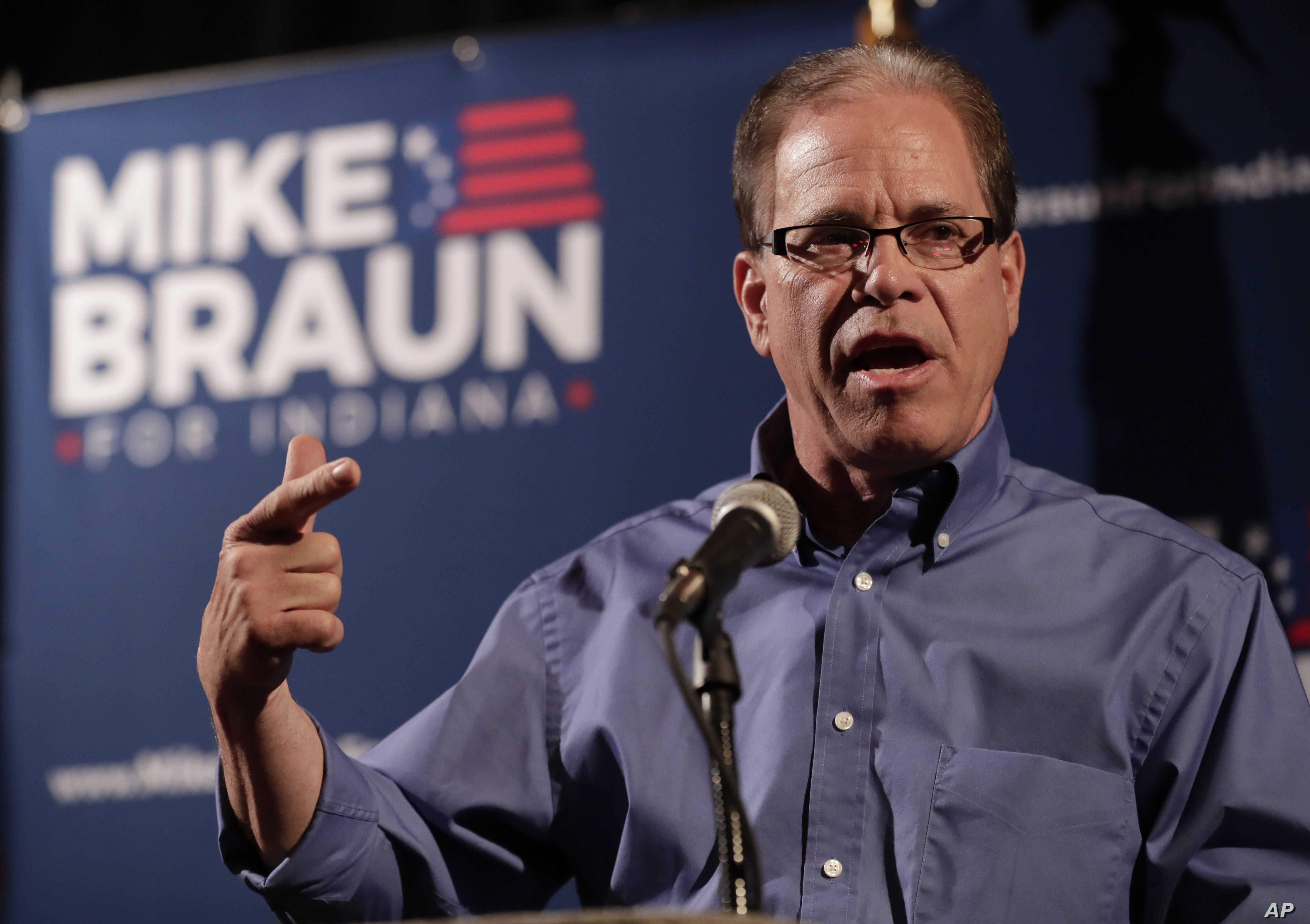 Republican Senate candidate Mike Braun thanks supporters after winning the Republican primary in Whitestown, Ind., May 8, 2018. Braun advances to a November matchup with Democrat Joe Donnelly, who is considered one of the Senate's most vulnerable inc...