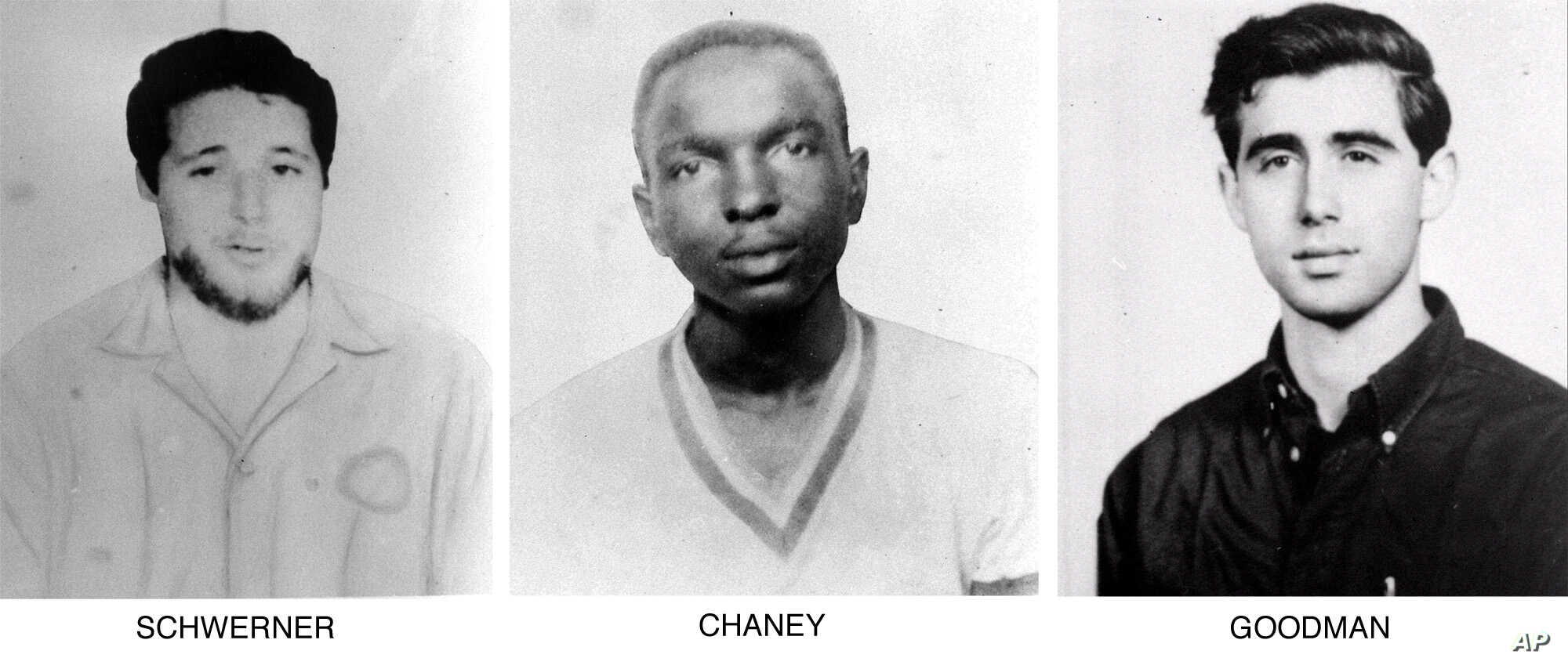 On June 29, 1964, the FBI began distributing these pictures of civil rights workers, from left, Michael Schwerner, 24, of New York, James Chaney, 21, from Mississippi, and Andrew Goodman, 20, of New York, who disappeared near Philadelphia, Miss., Jun...
